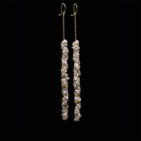 extra long beaded keshi pearl earring