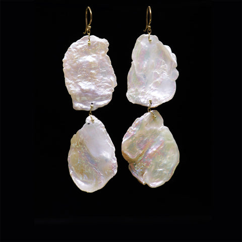 double keshi pearl wafer earring