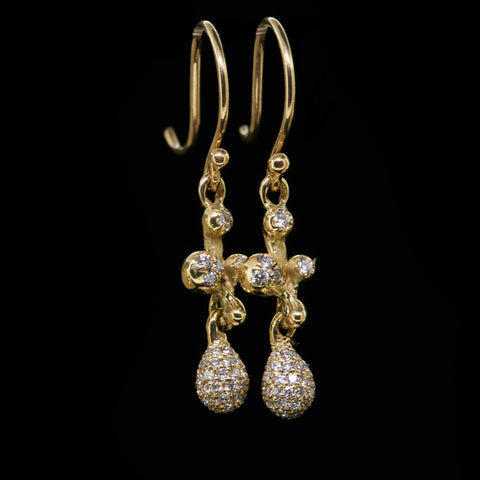 molten cluster pave diamond drop earrings