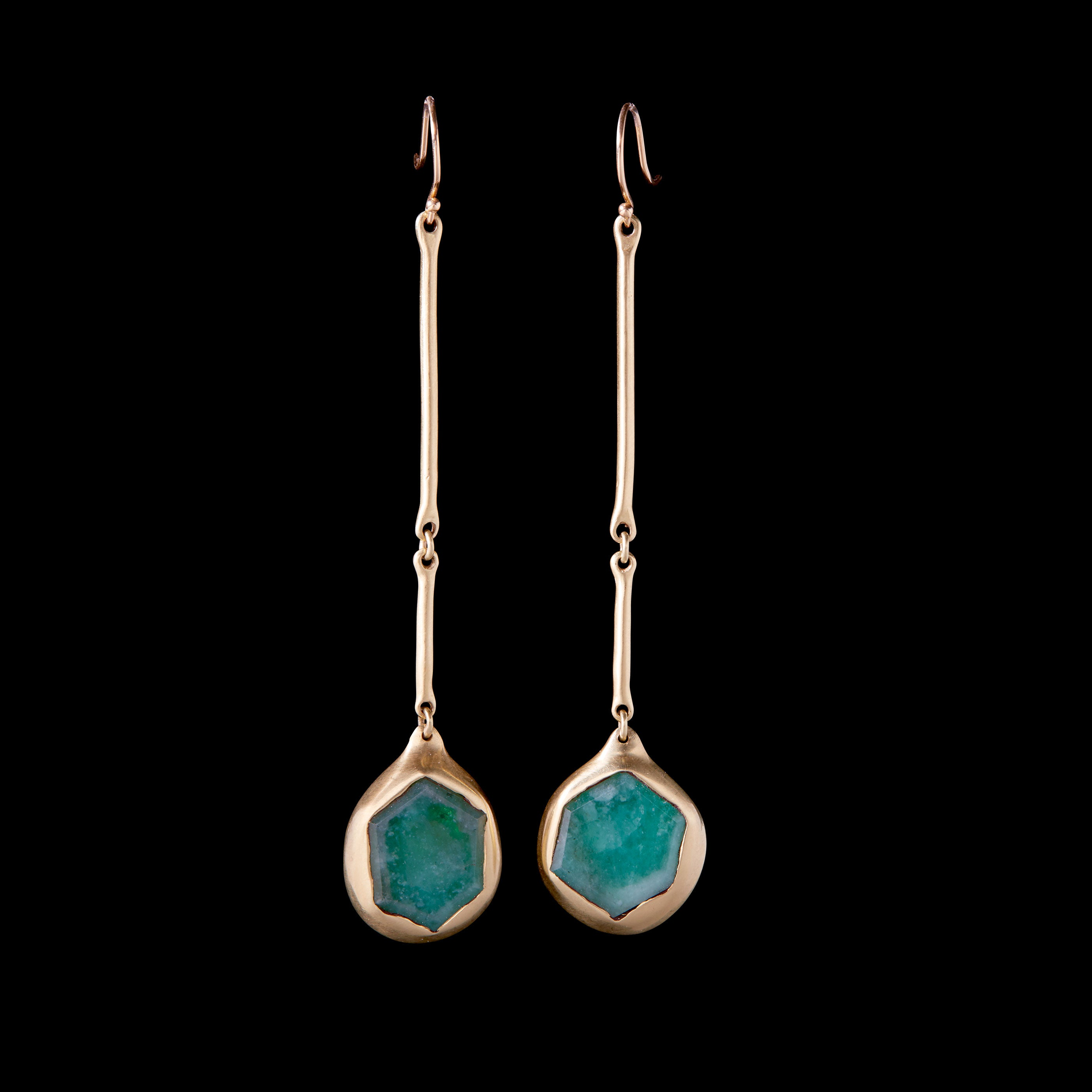 Emerald Slice Pendant Earrings