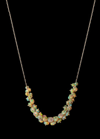 Ethiopian Opal Cluster Necklace