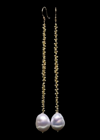 Extra Long Beaded Cluster Pearl Earring