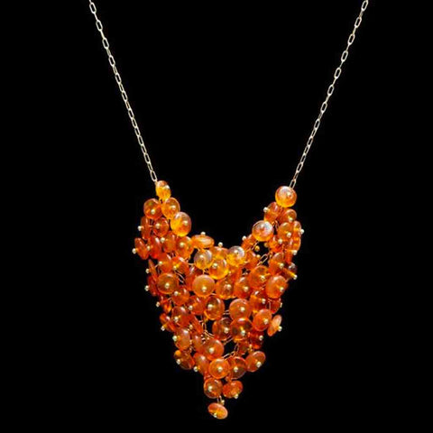 Fire Opal Beaded Bib Necklace