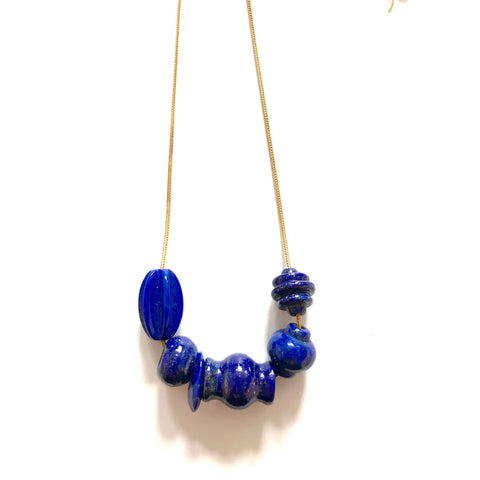 Lapis Luxe Charm Trade Bead Necklace