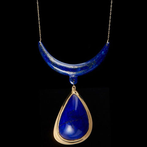 Lapis Antler Pendant Necklace