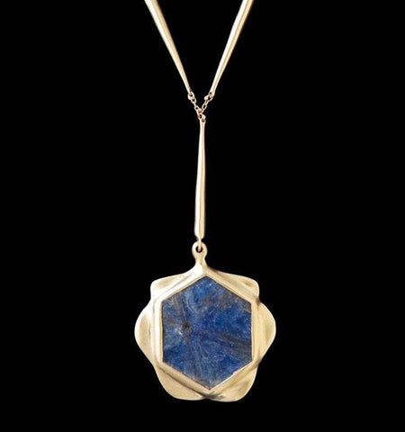Madagascar Sapphire Flower Pendant on Tapered Link Chain