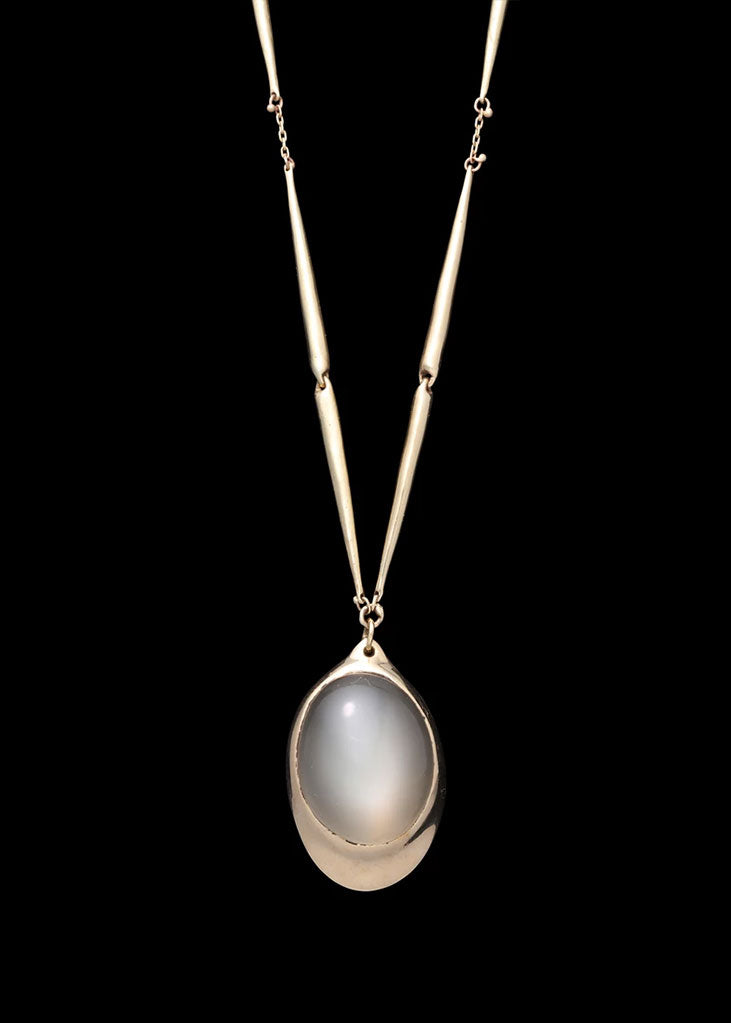 Moonstone Pendant  Tapered Link Necklace