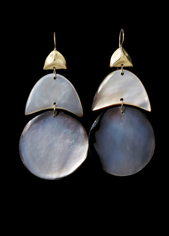 Black Mother of Pearl Arp Earring