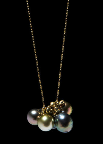 Molten Cluster Tahitian Black Pearl Charm Necklace