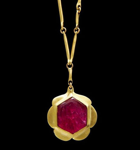 Natural Ruby Flower Pendant