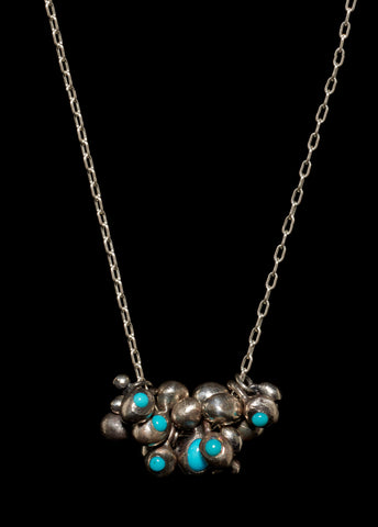 Molten Bead Multi Cluster Turquoise Pave Necklace