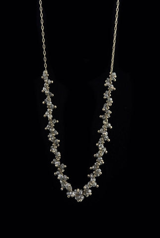 extra long beaded cluster necklace