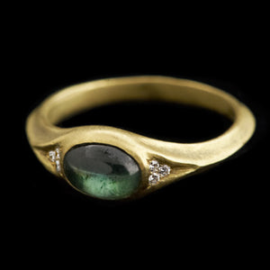eye ring with tourmaline and diamonds