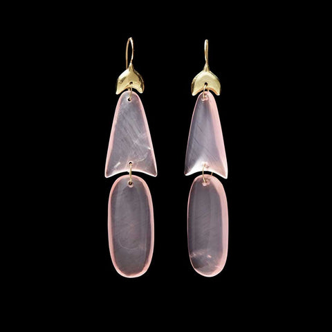 Small Rose Quartz Arrowhead Earring