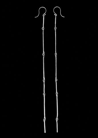 Cast Line Silver Long Earring