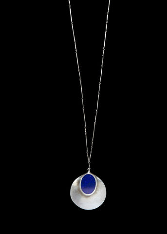 by oval chain genuine silver gemstoneappeal pendant lazuli pin lapis necklace