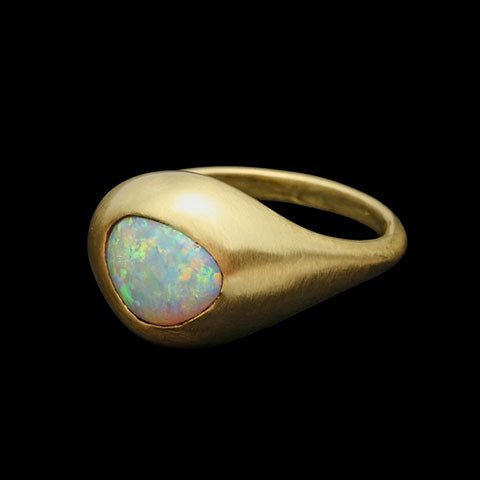 Black Opal Pinkie Ring