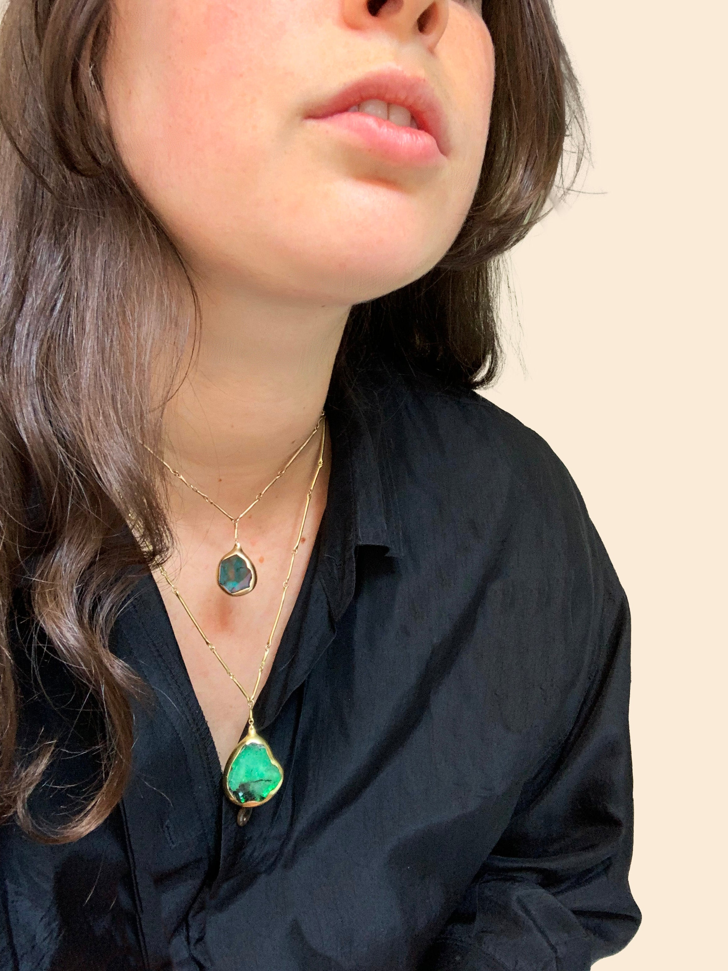 Blue Tormaline Pendant Necklace