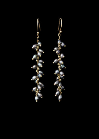 Long Gold Spiral Beaded Earrings