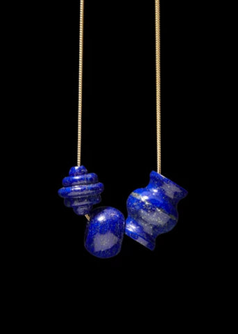 Lapis Trade Bead Charm Necklace
