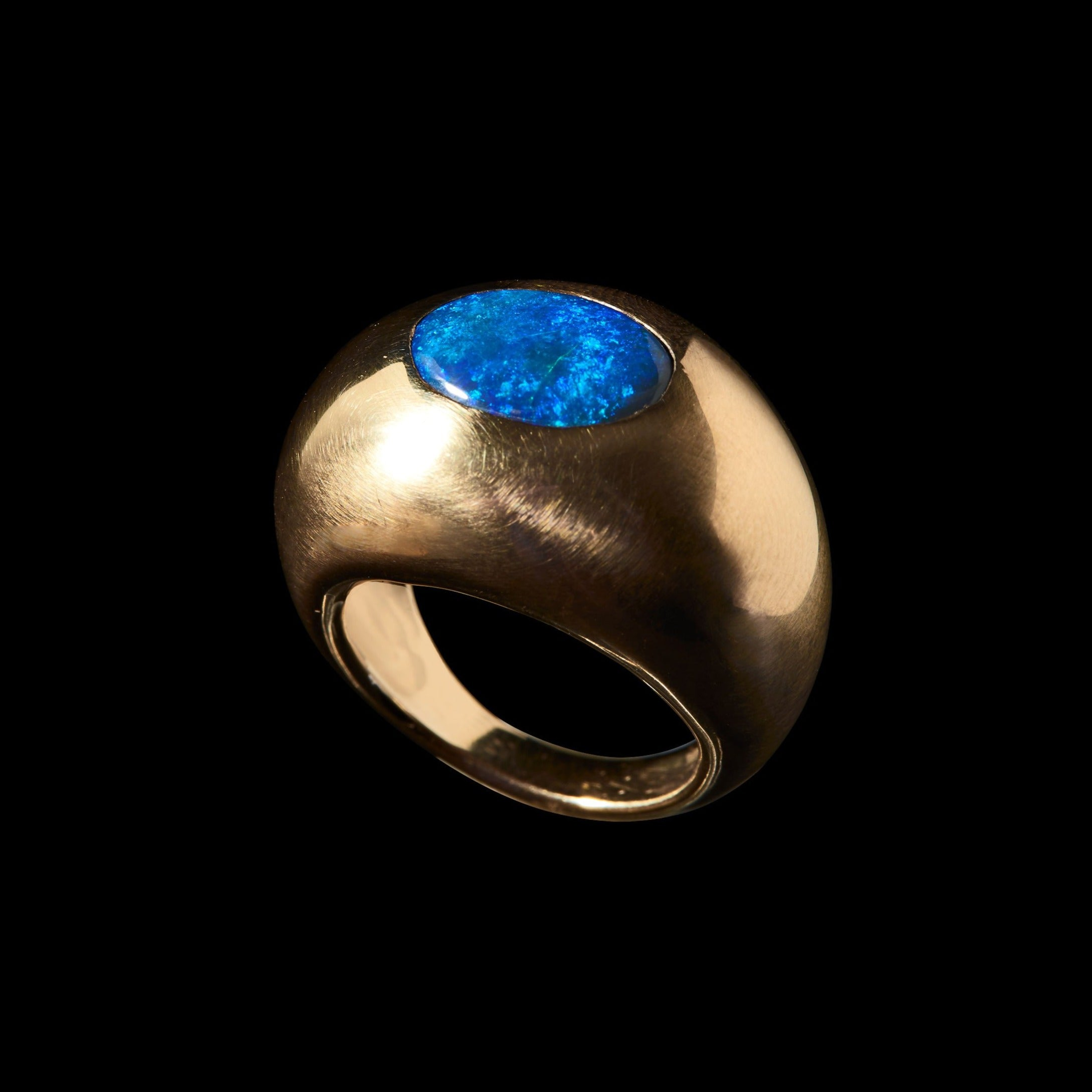 Large Dome Black Opal Ring