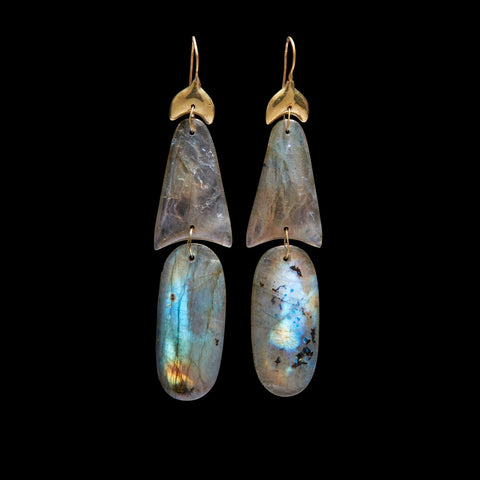 Small Arrowhead Labradorite Earring