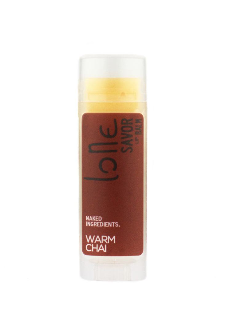 Warm Chai natural and organic coconut oil lip balm. Chai Tea and Vanilla Beans are extracted in Organic Coconut Oil to create this warm and cozy scent.
