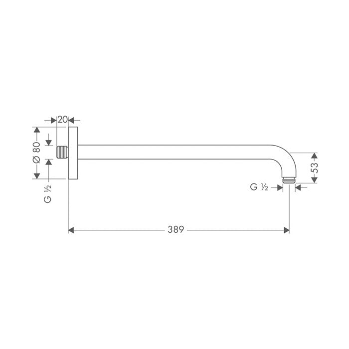 Hansgrohe wall mounted shower arm 389 mm indesign - Hansgrohe shower arm ...