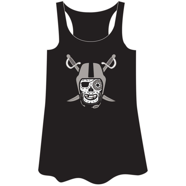 Black and Silver Women's Flowy Racer Tanktop