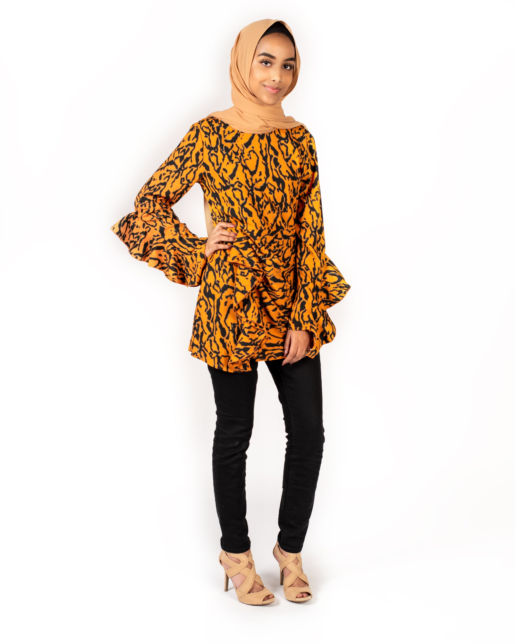 Aria Modest Ruffle Top - Tiger Print