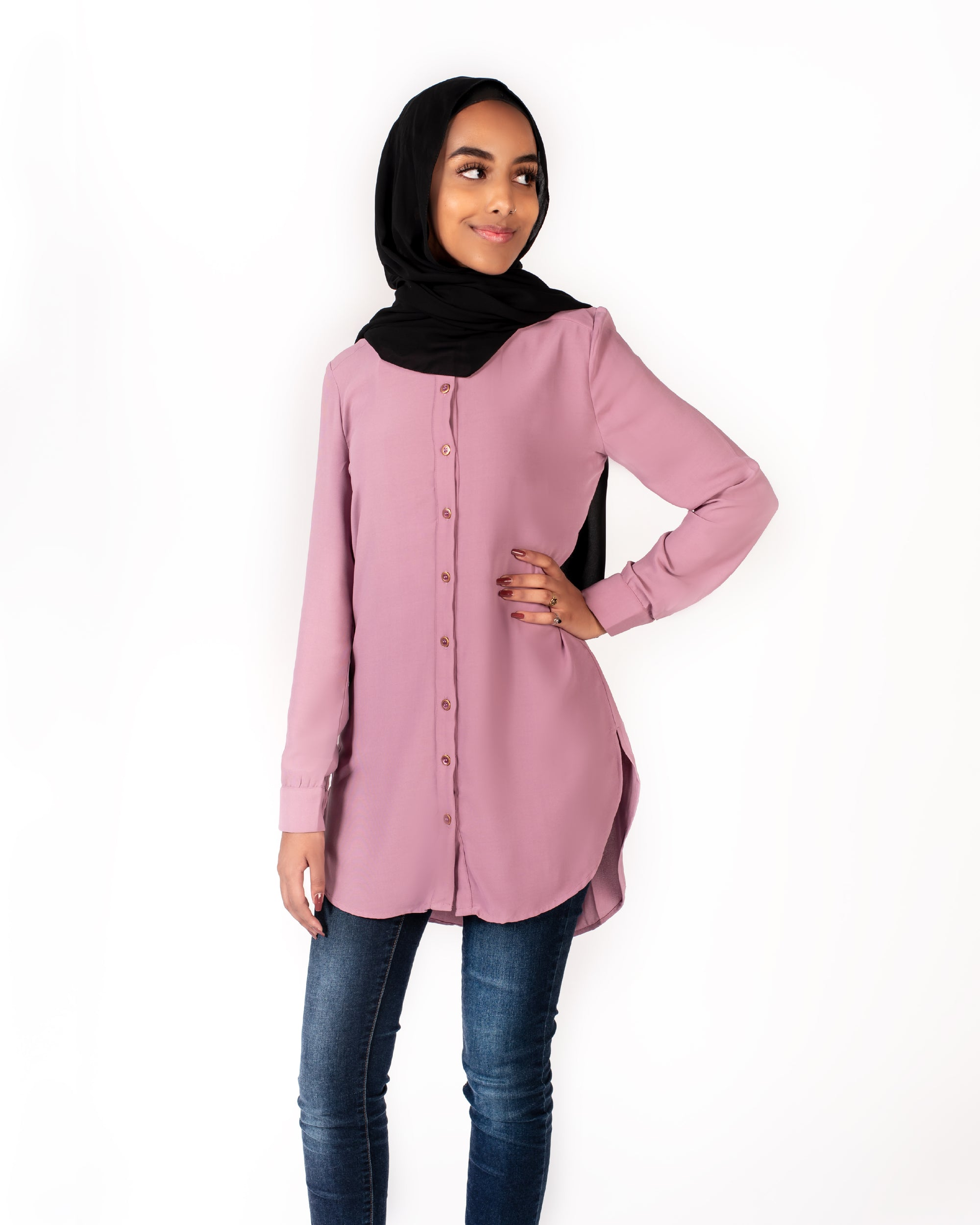 Lilana Modest Top - Dusty Rose