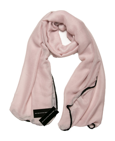 Viscose Hijab with black satin trim - Pale Pink