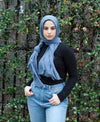 Viscose Cotton Crinkle Hijab - Ocean Blue - Verona Collection