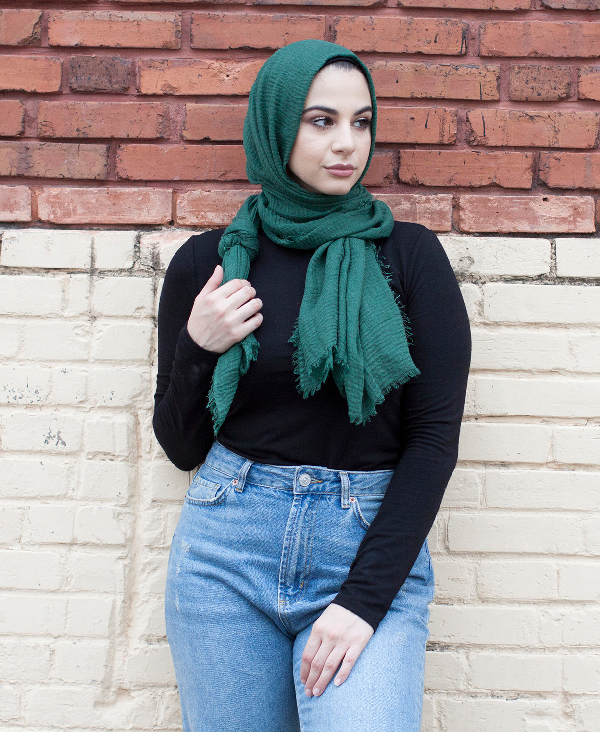 Viscose Cotton Crinkle Hijab - Hunter Green