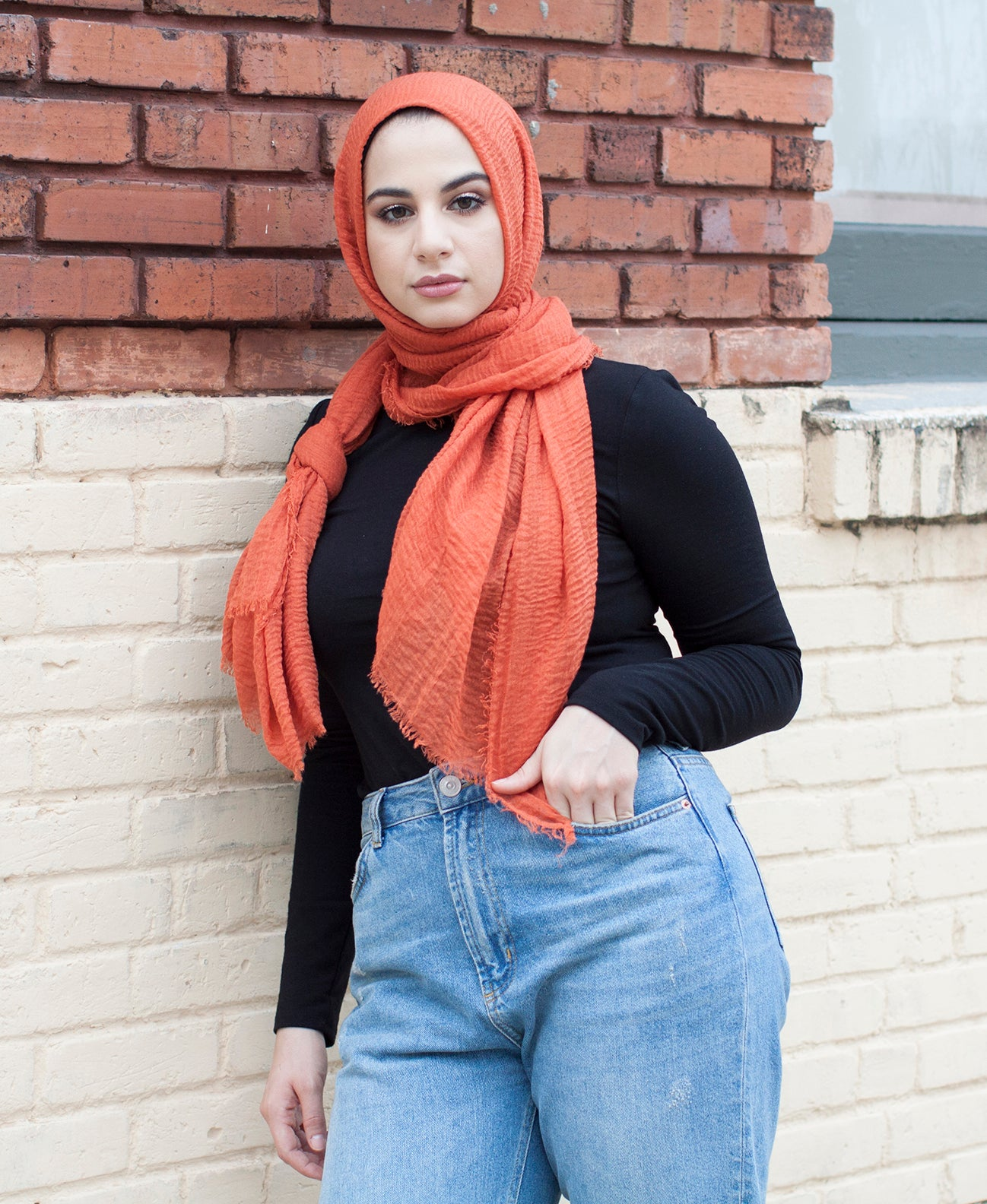 Viscose Cotton Crinkle Hijab - Sunset Orange