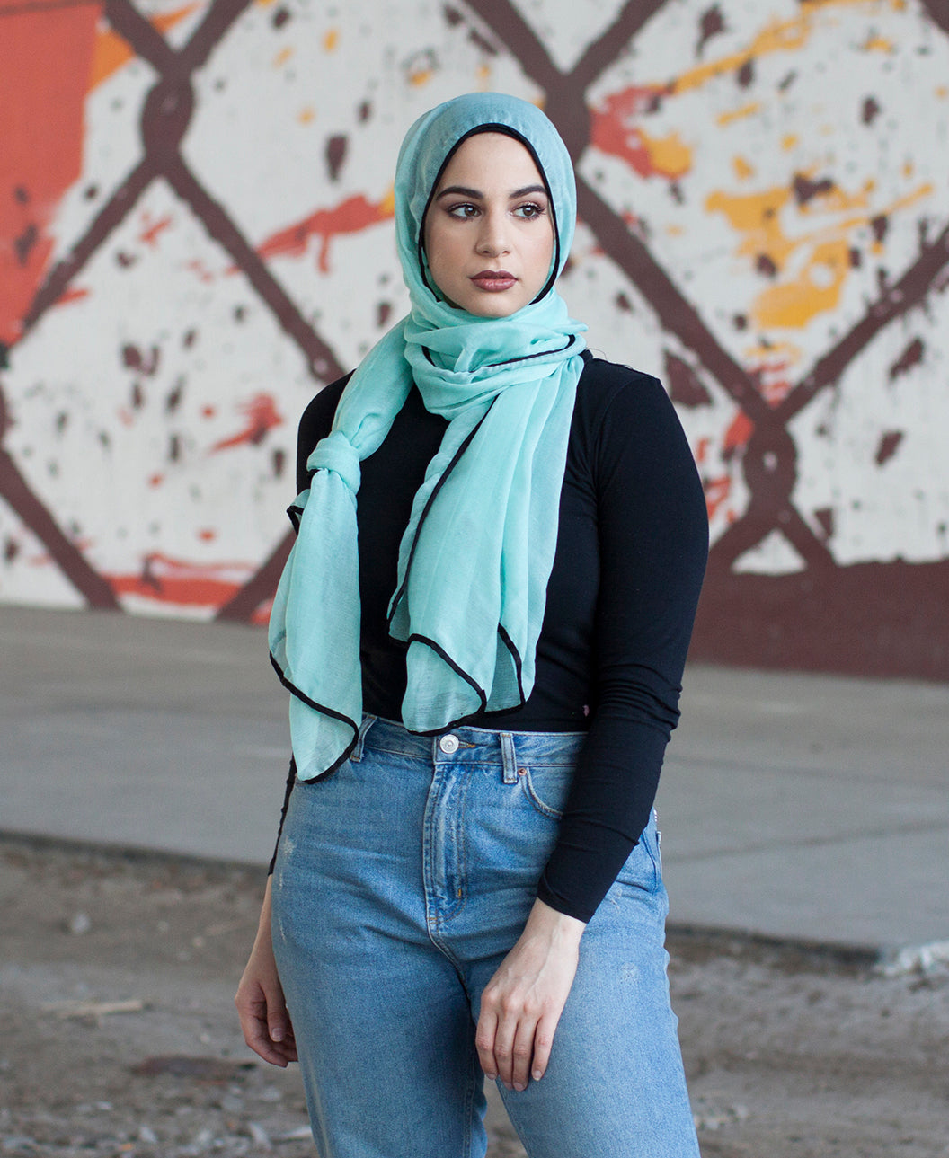Viscose Hijab with black satin trim - Mint