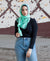 Viscose Hijab with black satin trim - Mint Tea
