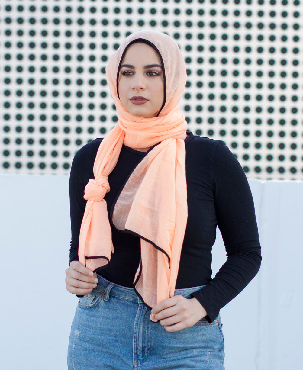Viscose Hijab with black satin trim - Peach