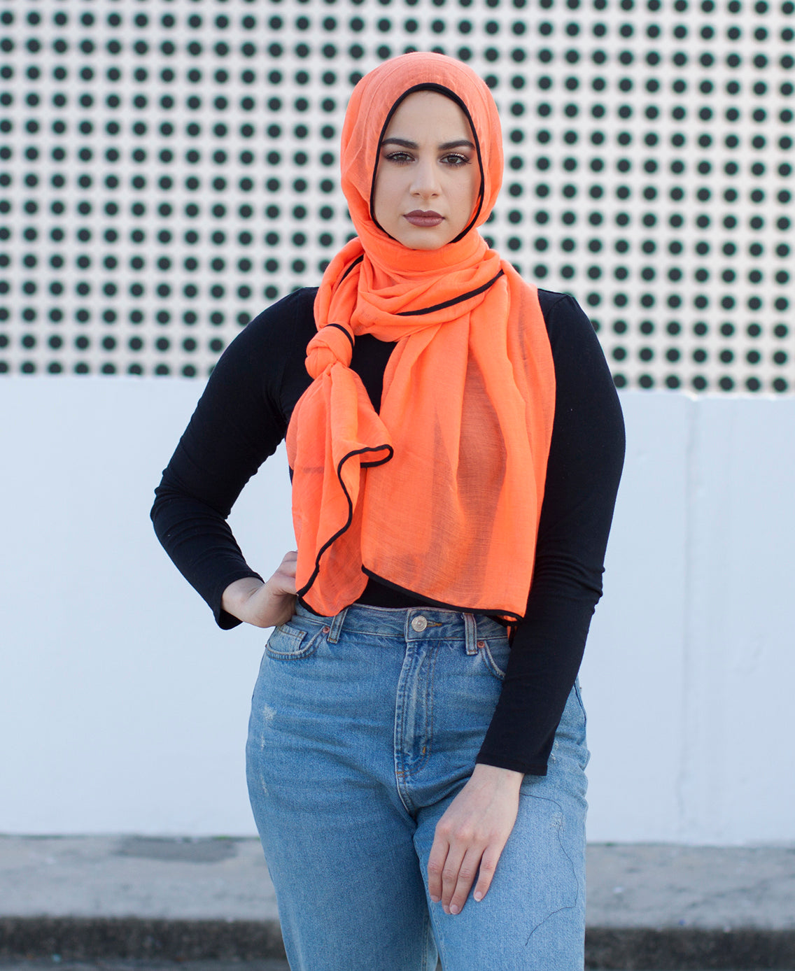 Viscose Hijab with black satin trim - Neon Orange
