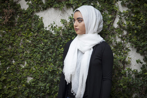 Viscose Cotton Hijab - Off White - Verona Collection