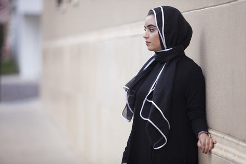 Viscose Hijab with white satin trim - Black - Verona Collection