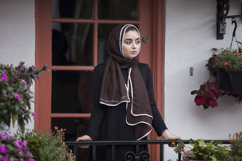 Viscose Hijab with white satin trim - Coffee - Verona Collection