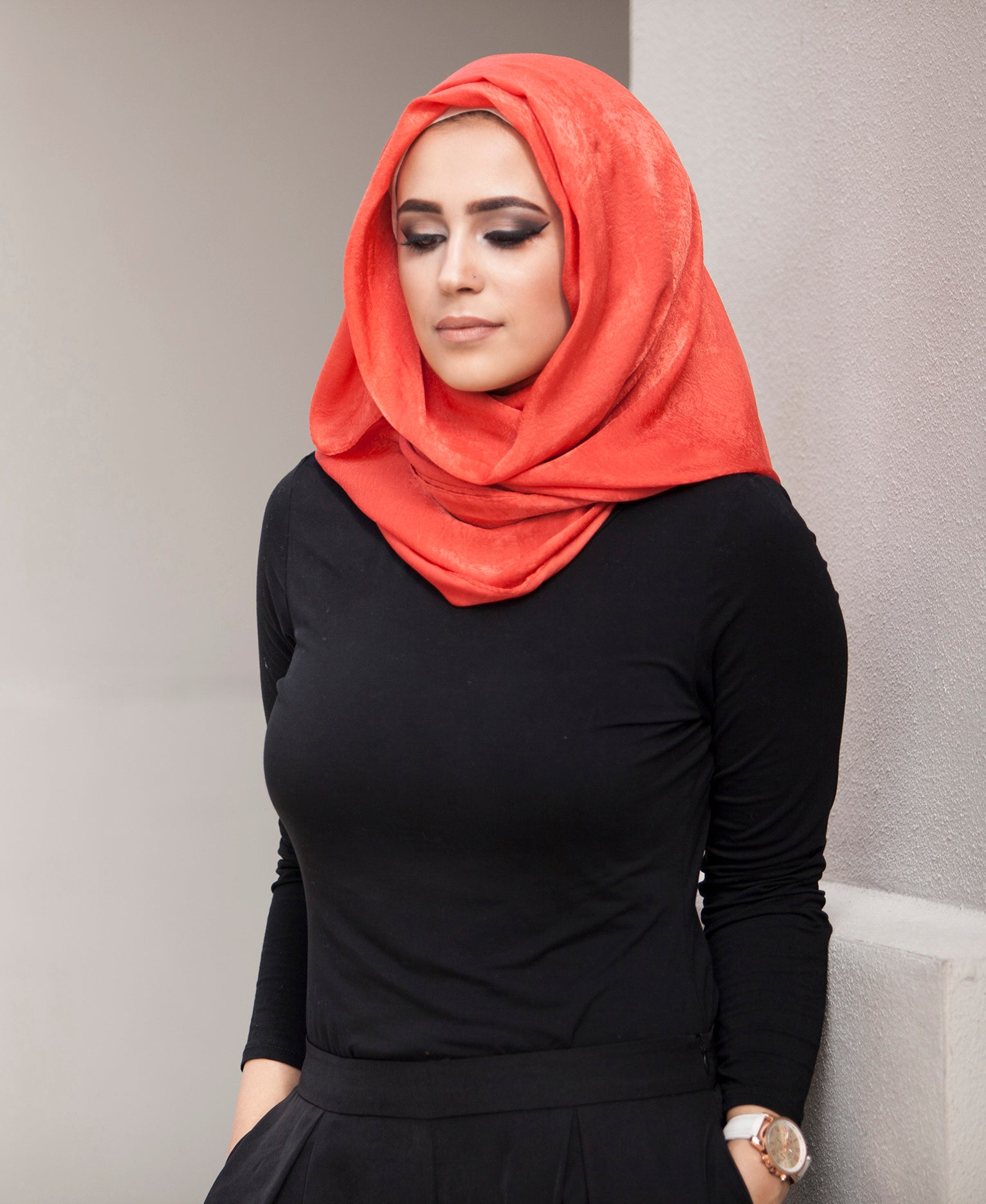 Luxury Viscose Satin Hijab - Burnt Orange