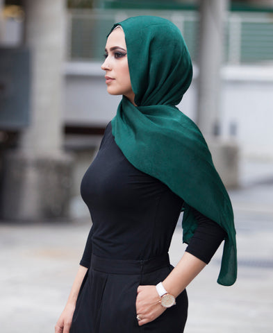 Luxury Viscose Satin Hijab - Hunter Green