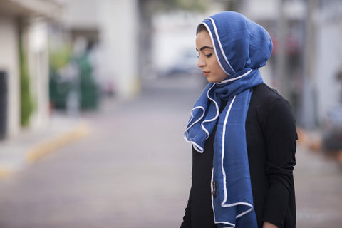 Viscose Hijab with white satin trim - Ocean Blue - Verona Collection
