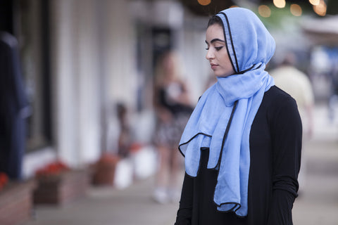Viscose Hijab with black satin trim - Sky Blue