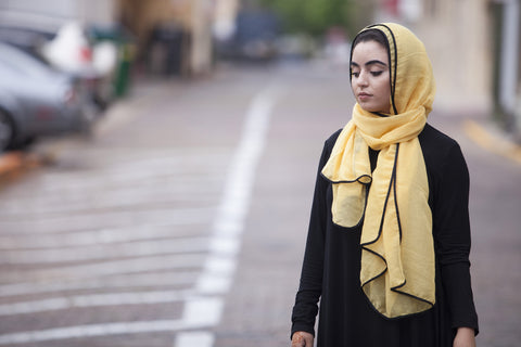 Viscose Hijab with black satin trim - Sunflower Yellow - Verona Collection