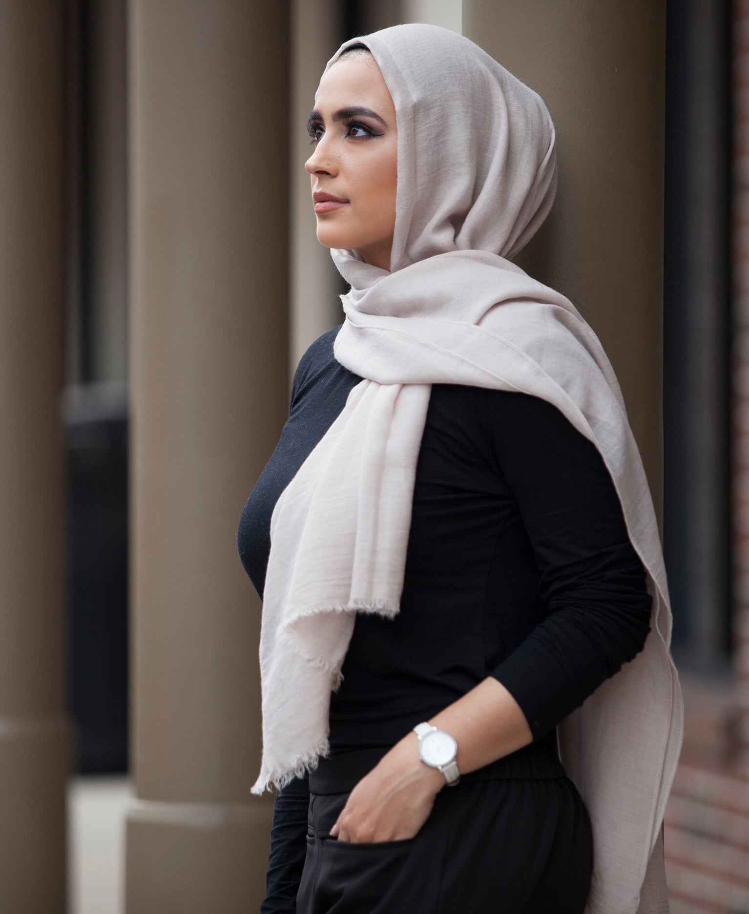 Hand Dyed Viscose Hijab - Dusty Cream