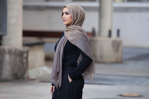 Viscose Ombre Hijab -  Coffee & Dark Beige - Verona Collection