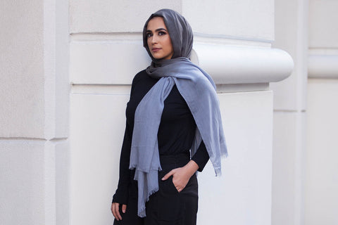 Viscose Ombre Hijab - Sky Blue & Charcoal Grey